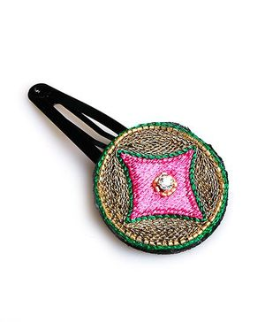 Chubby Cheeks Ethnic Zari Embroidered Tic Tac Hair Pin - Pink