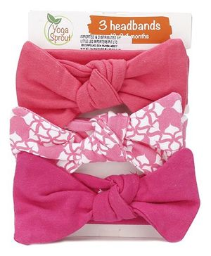 Yoga Sprout Set Of 3 Headbands - Pink