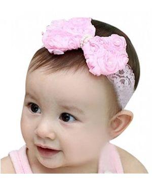 PinkXenia Bowknot Flower Pearl Headband - Light Pink