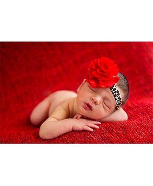 Akinos Kids Flower Puff Bows Headband - Red