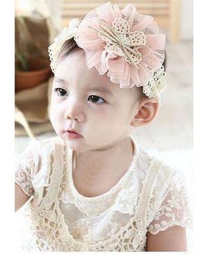 Akinos Kids  Elastic Lace Chiffon Pink Flower Headband  - Pink