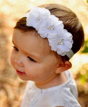 AkinosKIDS Flower Headband Embellished With Pearls - White