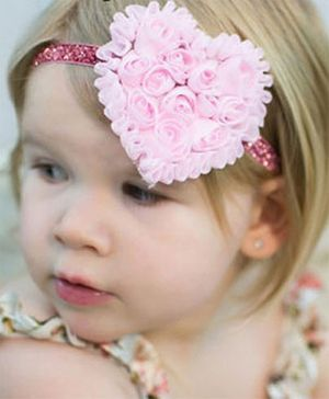 Akinos Kids  Rosette Flower Heart Soft Headband - Baby Pink