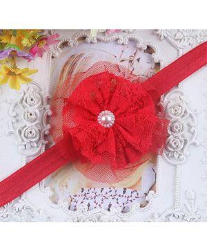 Akinos Kids  Mesh Yarn Flower Headband - Red