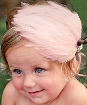Akinos Kids Feather Headband With Rhinestone - Baby Pink
