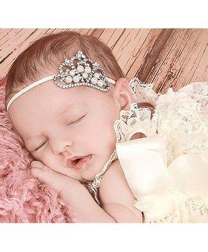 Akinos Kids Princess Crown Soft Headband - White