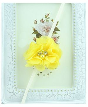 Akinos Kids  Soft Flower Headband Embllished With Pearl - Yellow