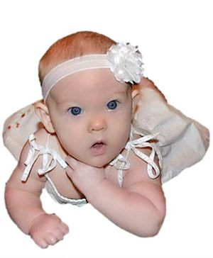 BabyZinnia Rosette Flower Headband - White
