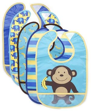 Luvable Friends Pack Of 5 Bibs With Monkey Print - Blue