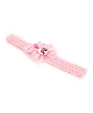 Barbie Bow Design With Heart Motif Head Band - Pink