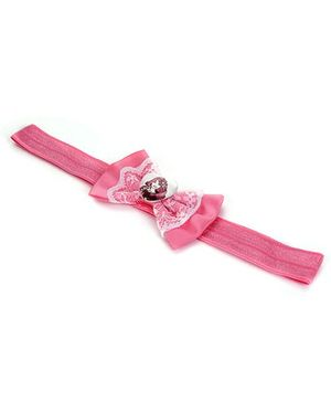 Barbie Lace Bow Design With Heart Motif Head Band - Pink