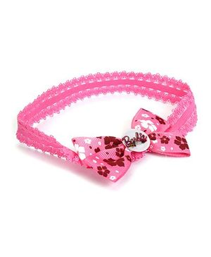 Barbie Floral Printed Bow Design With Heart Motif Head Band - Dark Pink