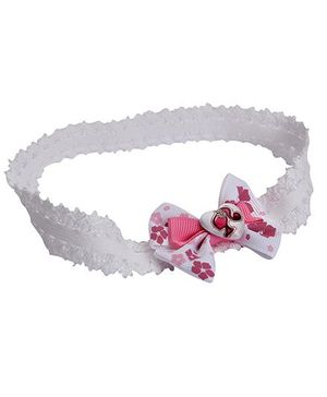 Barbie Floral Printed Bow Design With Heart Motif Head Band - White