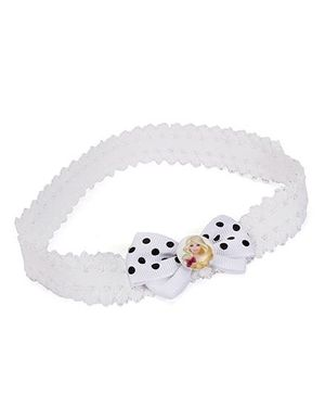 Barbie Dotted Bow Design With Heart Motif Head Band - White
