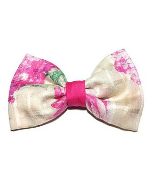 Bling & Bows Hairclip - Beige & Pink