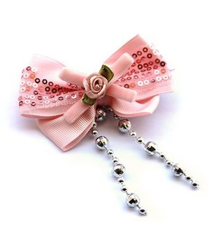 Cutekins Ribbon & Sequins Bow With Tassels Hairclip - Pink & Silver