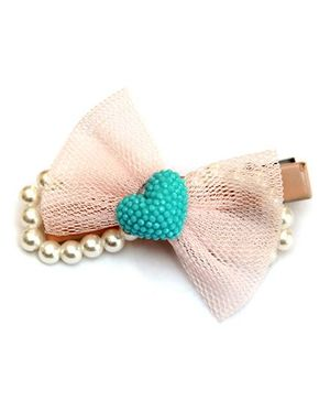 Cutekins Bow With Heart On Pearl Loop Hairclip - Baby Pink