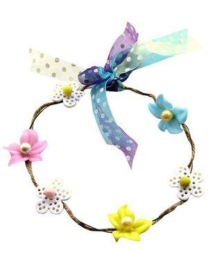 Cutekins Tropical Flowers Ribbons & Jute Tiara - Multicolor