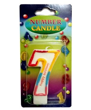 Gifts World Number 7 Candle - Multicolor