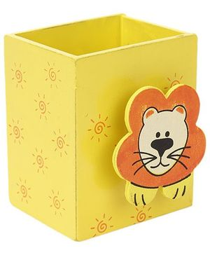 Wooden Pen Stand Lion Design - Yellow
