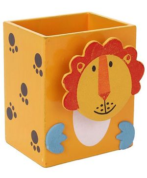 Wooden Pen Stand Lion Design - Light Orange