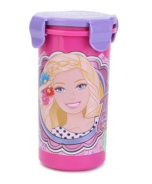 Barbie Tumbler With Clip On Lid Smile Print Pink & Purple - 400 ml