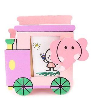Wooden Pen Stand Elephant Design - Pink