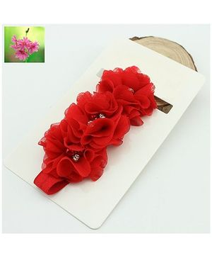 Cherry Blossoms Beads Motif Hairband - Red