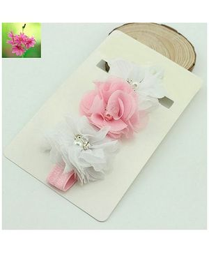 Cherry Blossoms Beads Motif Hairband - White & Pink