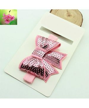 Cherry Blossoms Sequined Bow Hairband - Pink