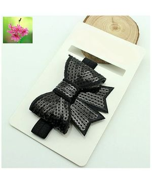 Cherry Blossoms Sequined Bow Hairband - Black