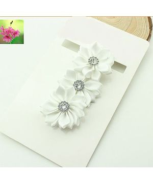 Cherry Blossoms Shiny Floral Hairband - White
