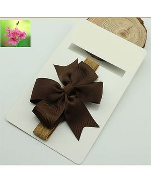 Cherry Blossoms Brown Bow Hairband - Brown