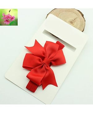 Cherry Blossoms Red Bow Hairband - Red