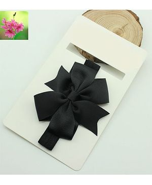 Cherry Blossoms Black Bow Hairband - Black