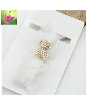 Cherry Blossoms Cute Pearly Bow Ruffled Lace Hairband - White