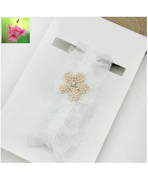 Cherry Blossoms Cute Pearly Flower Ruffled Lace Hairband - White