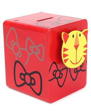 Wooden Tiger Design Money Bank - Red