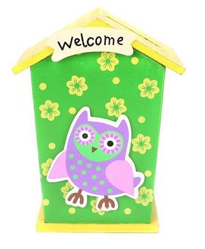 House Shaped Wooden Money Bank Owl Design - Green