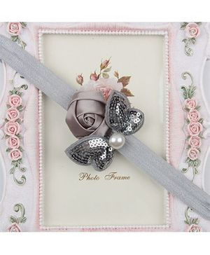 Pikaboo Headband Sequin Bow Applique - Grey