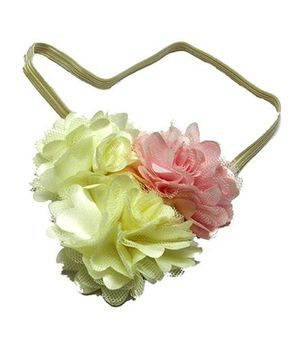 Pikaboo Headband Floral Applique - Cream And Pink