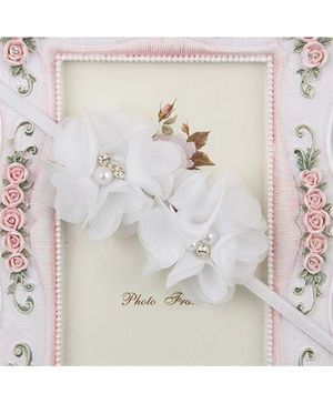Pikaboo Headband Floral Applique With Pearl - White
