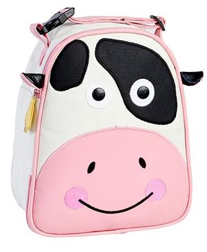 My Gift Booth Cow Print Insulated Lunch Bag - Cream And Pink
