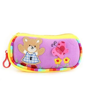 Clip On Pencil Pouch Butterfly Patch - Purple Yellow