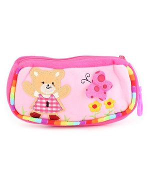 Clip On Pencil Pouch Butterfly Patch - Light Pink