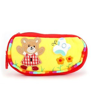 Clip On Pencil Pouch Butterfly Patch - Yellow Red