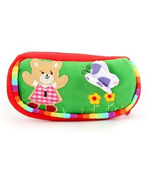 Clip On Pencil Pouch Butterfly Patch - Green Red