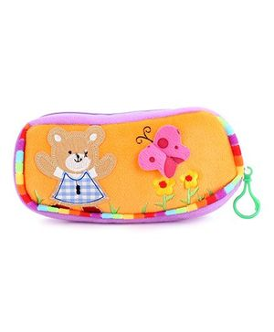 Clip On Pencil Pouch Butterfly Patch - Orange Purple
