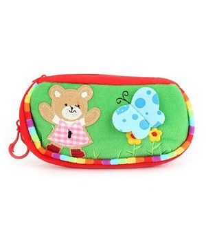 Clip On Pencil Pouch Butterfly Patch - Light Green Red