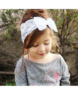 Funkrafts Single Bow Lace Headband - White